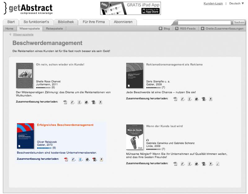 """getAbstract bewertet """"Erfolgreiches Beschwerdemanagement"""" mit 8 von 10 Punkten"""