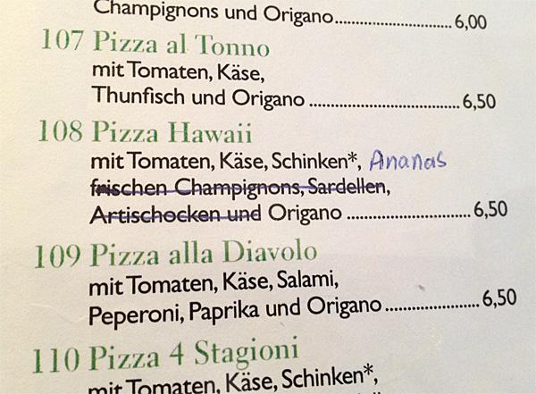 Pizza Hawaii mit oder ohne Ananas