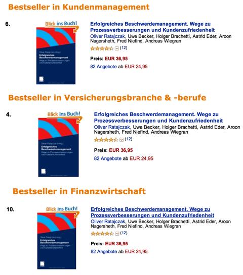 Amazon Bestseller Erfolgreiches Beschwerdemanagement