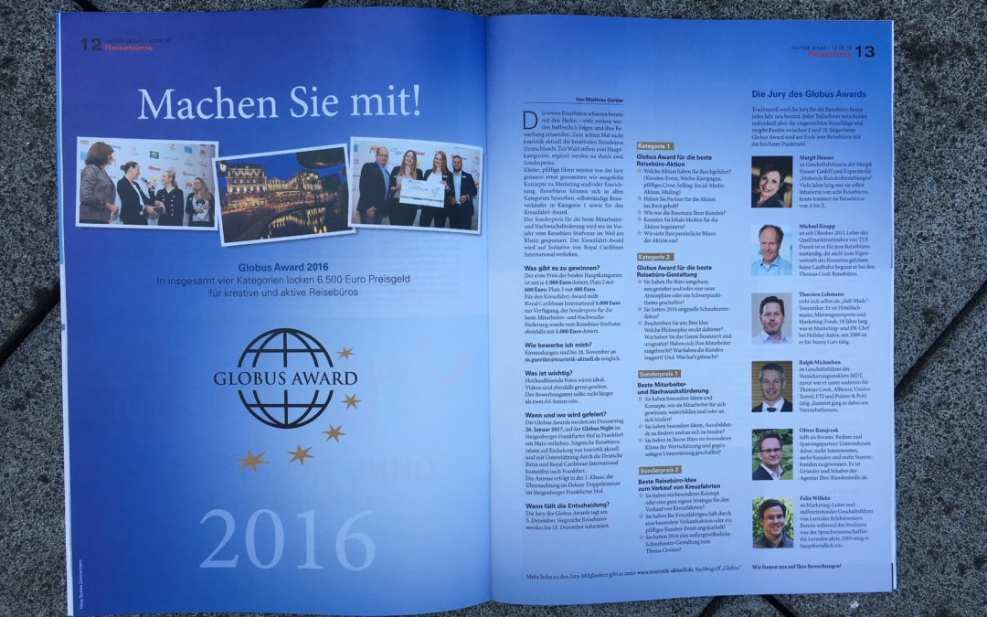 Ich bin wieder Jurymitglied des GLOBUS AWARD 2016