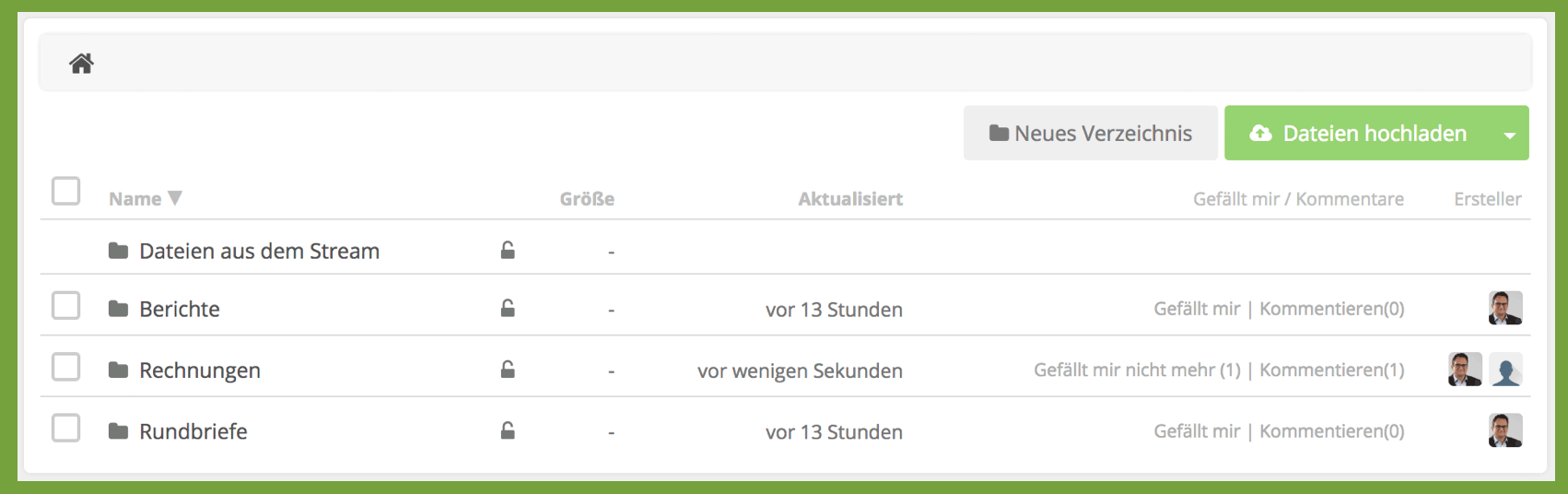 HumHub-Funktion: Dateiverwaltung