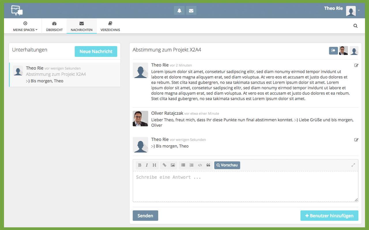 HumHub-Funktion: Nachrichtensystem zur internen Kommunikation