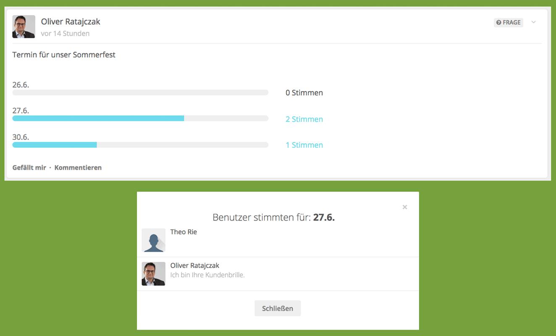 HumHub-Funktion: Umfragen z.B. zur Terminvereinbarung