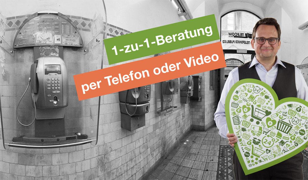 Flexible Zeitpakete für 1-zu-1-Beratungen per Videochat oder Telefon