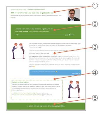 Aufbau einer Beispiellektion aus dem Kurs Zufrieden zusammenarbeiten im Team