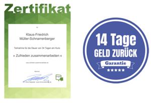 Kurs Zufrieden zusammenarbeiten mit Zertifikat und 14-Tage-Geld-zurück-Garantie